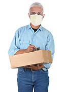 Deliveryman Wearing a Protective Mask While Delivering a Package