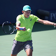 2017 U.S. Open Tennis Tournament - DAY THREE. Alex de Minaur of Australia  in action against Dominic Thiem of Austria during the Men's Singles round one match at the US Open Tennis Tournament at the USTA Billie Jean King National Tennis Center on August 30, 2017 in Flushing, Queens, New York City. (Photo by Tim Clayton/Corbis via Getty Images)