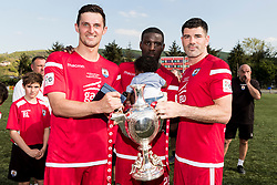 NEWTOWN, WALES - Sunday, May 6, 2018: Connahs Quay Nomads goal scorers L-R: Nathan Woolfe, Michael Baker and Michael Steele lift the FAW Welsh Cup following a 4-1 victory in the FAW Welsh Cup Final between Aberystwyth Town and Connahs Quay Nomads at Latham Park. (Pic by Paul Greenwood/Propaganda)