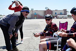 Lisa Klein (GER) chats to 'Papa Ryan' at Amgen Tour of California Women's Race empowered with SRAM 2019 - Stage 1, a 96.5 km road race in Ventura, United States on May 16, 2019. Photo by Sean Robinson/velofocus.com