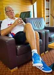 Dusan Ivkovic, head coach of Serbia during interview at training camp of Serbian Basketball team for Eurobasket 2013 on July 25, 2013 in Hotel Kompas, Kranjska Gora, Slovenia. (Photo by Vid Ponikvar / Sportida.com)