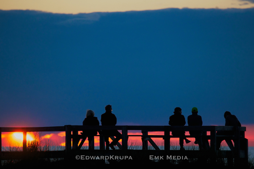 Viewing the sunset over Lake Huron at The Pinery Ontario Provincial Park, Canada.