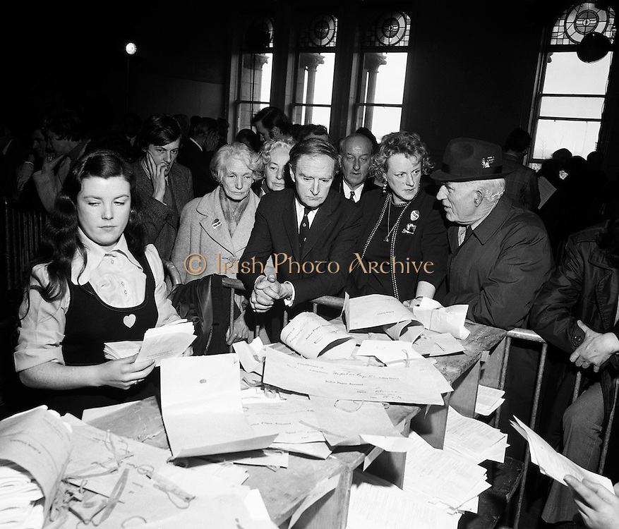 Liam Cosgrave watches as the votes are counted in the general election. After sixteen consecutive years of Fianna Fail government, the Irish people went to the polls to elect a new government. Cosgrave is hopeful that a coalition with Labour would oust the existing office holders.<br />