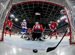 Ziga Jeglic of Slovenia scores a goal during ice-hockey match between Slovenia and Hungary at IIHF World Championship DIV. I Group A Slovenia 2012, on April 18, 2012 at SRC Stozice, Ljubljana, Slovenia. (Photo By Matic Klansek Velej / Sportida.com)