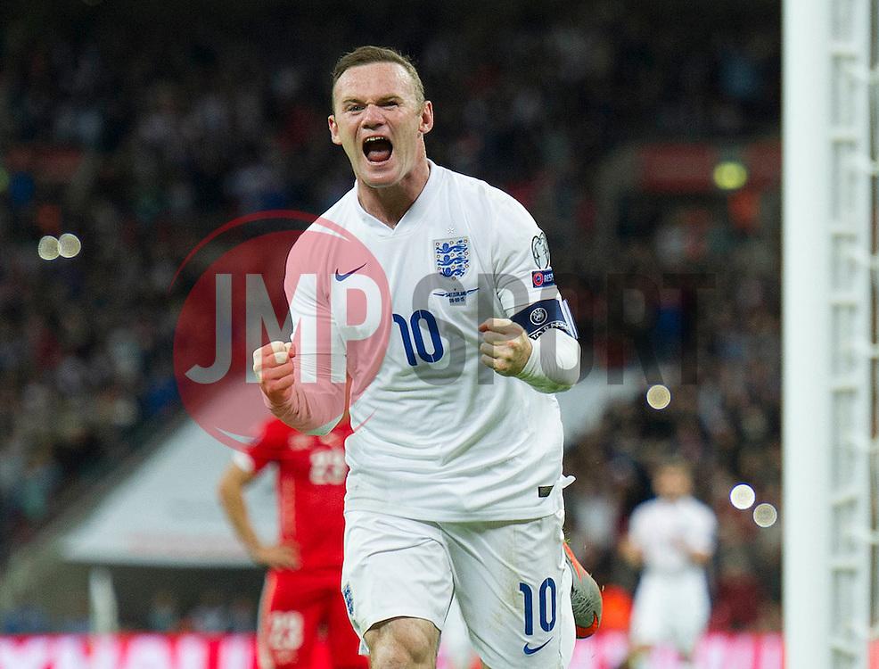 Wayne Rooney of England (Manchester United) celebrates his 50th goal for England.  - Mandatory byline: Alex James /JMP - 07966386802 - 08/09/2015 - FOOTBALL - INTERNATIONAL - Wembley Stadium - London - England v Switzerland - European Championship 2016 Qualifiers - Group E