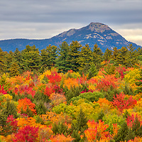 New England fall foliage peak colors guiding the way to Mount Chocorua in the New Hampshire White Mountains. <br />