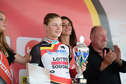 Lotte Kopecky (Lotto Soudal) is awarded the best Belgian rider jersey at the 4.4 km Prologue of the Lotto Belgium Tour 2016 on 6th September 2016 in Nieuwpoort, Belgium. (Photo by Sean Robinson/Velofocus).