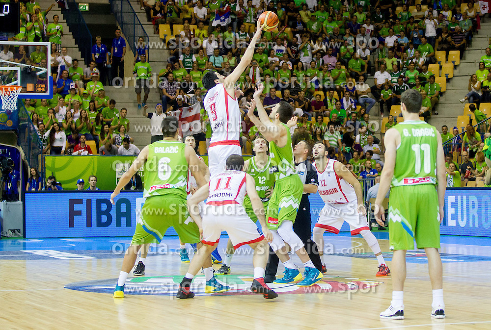 Giorgi Shermadini #9 of Georgia vs Mirza Begic of Slovenia during basketball match between National teams of Georgia and Slovenia in Round 1 at Day 4 of Eurobasket 2013 on September 7, 2013 in Arena Zlatorog, Celje, Slovenia. (Photo by Vid Ponikvar / Sportida.com)