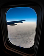 Uzbekistan Airways flight to Tashkent, somewhere over the Kyzyl Kum Desert.<br /> Picture date: Wednesday March 14, 2018.<br /> Photograph by Christopher Ison &copy;<br /> 07544044177<br /> chris@christopherison.com<br /> www.christopherison.com