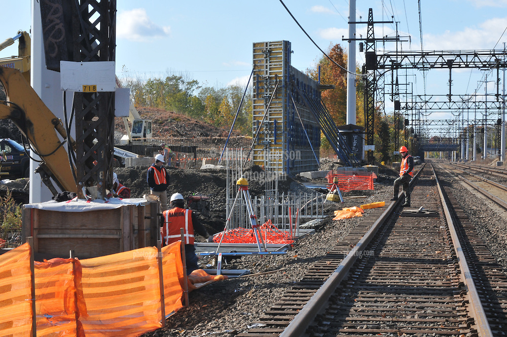 Surveying, Platform and Bridge forms. Construction Progress Photography of the Railroad Station at Fairfield Metro Center - Site visit 4 of once per month Chronological Documentation.