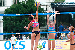 Ana Skarlovnik vs Tereza Jarosova at Beach Volleyball Challenge Ljubljana 2014, on August 2, 2014 in Kongresni trg, Ljubljana, Slovenia. Photo by Matic Klansek Velej / Sportida.com
