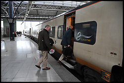 People board the Eurostar at Brussels-Midi/Zuid Station, Belgium, heading to London, April 11, 2013,<br /> Picture by Andrew Parsons / i-Images