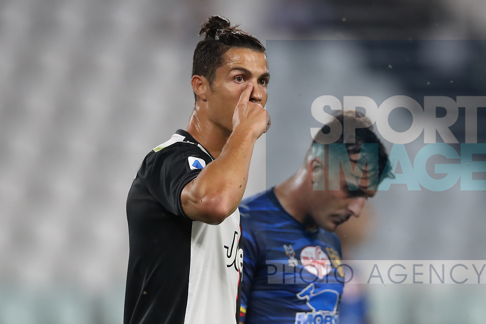 Juventus's Portuguese striker Cristiano Ronaldo points towards his eye during the Serie A match at Allianz Stadium, Turin. Picture date: 26th June 2020. Picture credit should read: Jonathan Moscrop/Sportimage
