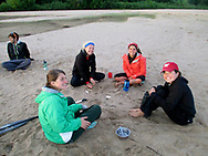 Students converse on a beach during their Wisconsin Basecamp trip in 2012.  Wisconsin Basecamp is an outdoor experience open to incoming University of Wisconsin-Madison freshman students.