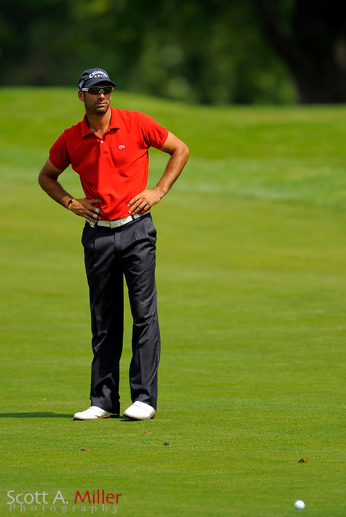 Aug 13, 2009; Chaska, MN, USA; Alvaro Quiros (ESP) lines up a shot on the third hole during the first round of the 2009 PGA Championship at Hazeltine National Golf Club.  ©2009 Scott A. Miller