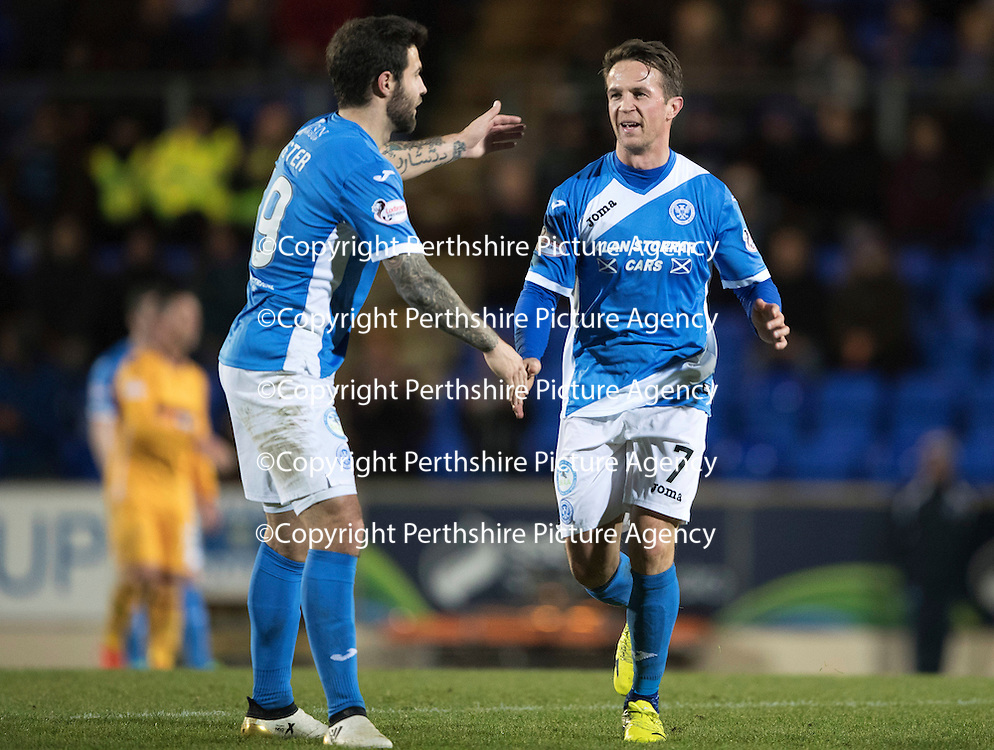 St Johnstone v Motherwell&Ouml;17.12.16     McDiarmid Park    SPFL<br /> Chris Millar gets a pat on the back from Richie Foster as he is subbed<br /> Picture by Graeme Hart.<br /> Copyright Perthshire Picture Agency<br /> Tel: 01738 623350  Mobile: 07990 594431