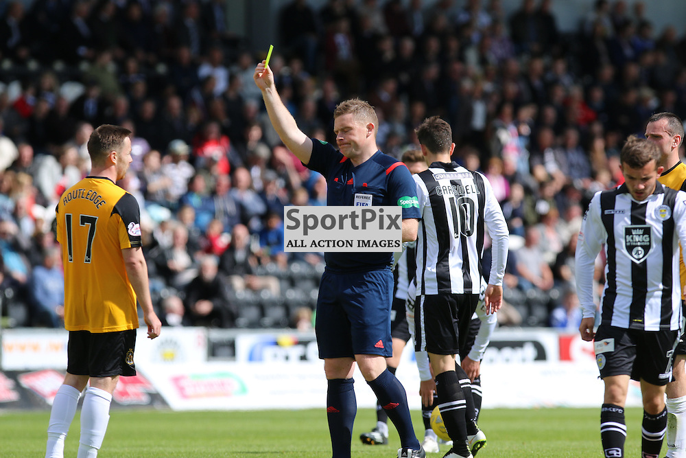 Routledge is book for a foul on Agnew   during the St Mirren FC V Dumbarton FC Scottish Championship 12th August 2015<br /> <br /> (c) Andy Scott | SportPix.org.uk