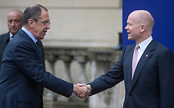 Foreign Secretary William Hague with his Russian counterpart Sergey Lavrovthe, G8 Summit, Lancaster House, in London, Britain, on April 11, 2013. Photo by i-Images.