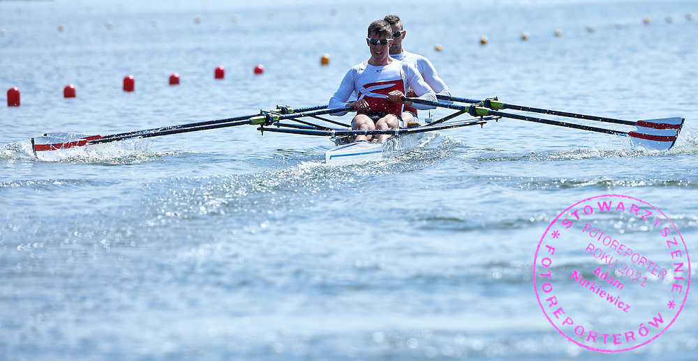 (bow) Frank Steffensen and (stroke) Sophus Johannesen both of Denmark compete at Men&rsquo;s Double Sculls (M2x) during first day the 2015 European Rowing Championships on Malta Lake on May 29, 2015 in Poznan, Poland<br /> Poland, Poznan, May 29, 2015<br /> <br /> Picture also available in RAW (NEF) or TIFF format on special request.<br /> <br /> For editorial use only. Any commercial or promotional use requires permission.<br /> <br /> Mandatory credit:<br /> Photo by &copy; Adam Nurkiewicz / Mediasport