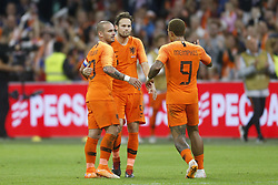 (L-R), Wesley Sneijder of Holland, Daley Blind of Holland, Memphis Depay of Holland during the International friendly match match between The Netherlands and Peru at the Johan Cruijff Arena on September 06, 2018 in Amsterdam, The Netherlands