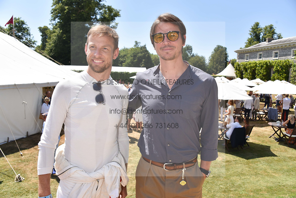 Jenson Button and Josh Hartnett at the 'Cartier Style et Luxe' enclosure during the Goodwood Festival of Speed, Goodwood House, West Sussex, England. 15 July 2018.