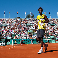 30 May 2009: Gael Monfils of France celebrates during the Men's Singles third round match on day seven of the French Open at Roland Garros in Paris, France.