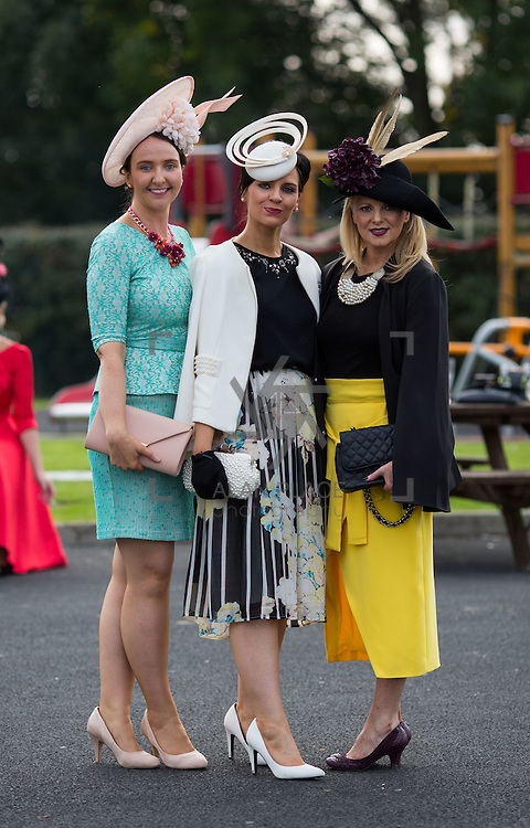 09.10.2016           <br /> Attending the Keanes Jewellers Best dressed competition at Limerick Racecourse were, Joanne and Caroline Whelan, Ardrahan C. Galway and Brid O'Driscoll, Kinvara Co. Galway. Picture: Alan Place