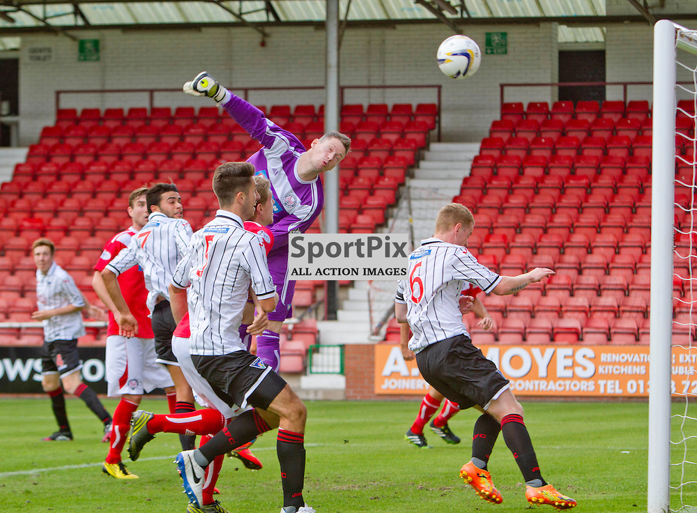 Dunfermline Athletic v Brechin City SPFL League One East End Park 09 August 2014<br /> <br /> Greame Smith saves<br /> <br /> CRAIG BROWN | sportPix.org.uk