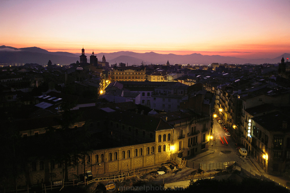 City of Pamplona, Spain, at dawn.