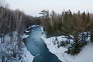 Winter scenic landscape of the Ontonagon River in Michigan's Upper Peninsula.