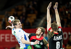 David Miklavcic of Slovenia vs Hendrik Pekeler of Germany and Finn Lemke of Germany during handball match between National teams of Germany and Slovenia on Day 6 in Preliminary Round of Men's EHF EURO 2016, on January 20, 2016 in Centennial Hall, Wroclaw, Poland. Photo by Vid Ponikvar / Sportida