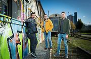 Starterslift-deelnemer Flow.ai met vlnr: Murat Ozmerd, Sander Wubben en Gijs van de Nieuwegiessen.