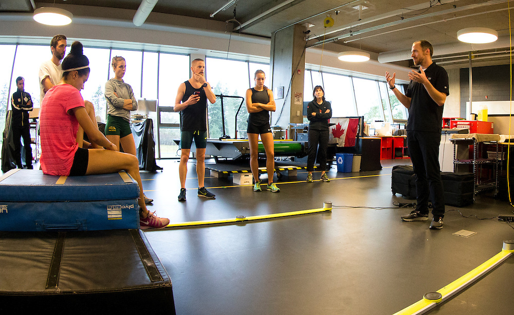 Athletes train at the Pacific Institute for Sport Excellence on December 3rd, 2015 in Victoria, British Columbia Canada.<br /> <br /> Athletes reactive strength index is tested with a drop jump to measure neuromuscular explosiveness and tendon stiffness.