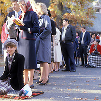 Admirers of the Prince and Princess of Wales line up outside Washington's National Cathedral for the to secure a seat at church servcice with the royal couple on Sunday, November 10, 1985.