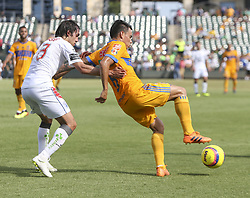 July 8, 2018 - Round Rock, USA - Monterrey forward Lucas Zolarayan (8) regains possession of the ball during a Liga MX friendly match between Tigres and Pachuca at Dell Diamond in Round Rock, Texas, on July 8, 2018. (Credit Image: © Scott W. Coleman via ZUMA Wire)