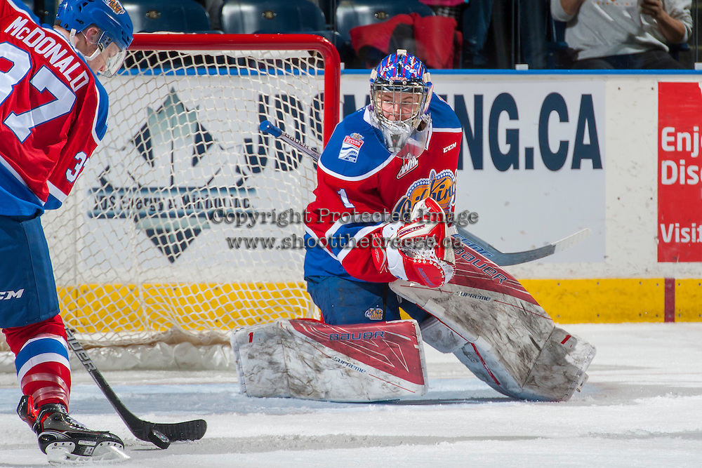 KELOWNA, CANADA - FEBRUARY 22: Patrick Dea #1 of the Edmonton Oil Kings defends the net against the Kelowna Rockets on February 22, 2017 at Prospera Place in Kelowna, British Columbia, Canada.  (Photo by Marissa Baecker/Shoot the Breeze)  *** Local Caption ***