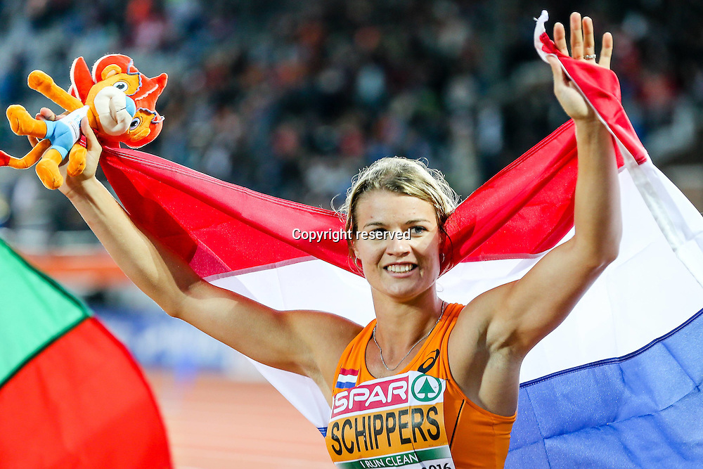 08.07.2016. Amsterdam, Holland. The European Athletics Championships. Dafne Schippers (NED) wins the womens 100mtres