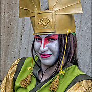 Cosplay attendee in his costume, as Avatar Kyoshi the last Airbender.<br />