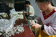 30 March 2006 - Dongguan, Guangdong Province - A factory worker installs zippers in a handbad factory.