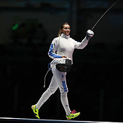 Fencing - Olympics: Day 1  Rossella Fiamingo, Italy, preparing for her gold medal bout against Emese Szasz, Hungary during the Women's Épée Individual Final at Carioca Arena 3 on August 6, 2016 in Rio de Janeiro, Brazil. (Photo by Tim Clayton/Corbis via Getty Images)