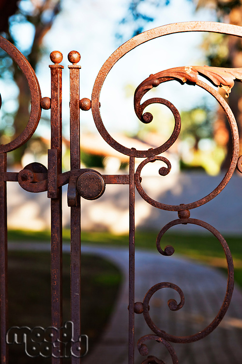 Close-up view of rusted gate