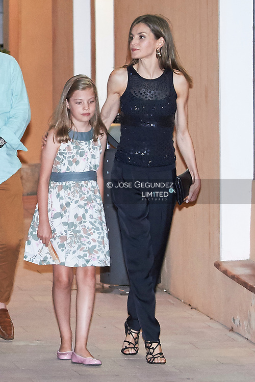 King Juan Carlos of Spain, King Felipe VI of Spain, Queen Sofia of Spain, Queen Letizia of Spain, Crown Princess Leonor, Princess Sofia, Felipe Juan Froilan, Victoria Federica, Princess Elena leaves Flanigan restaurant after a dinner at Puerto Portals on July 31, 2016 in Portals Nous, Mallorca
