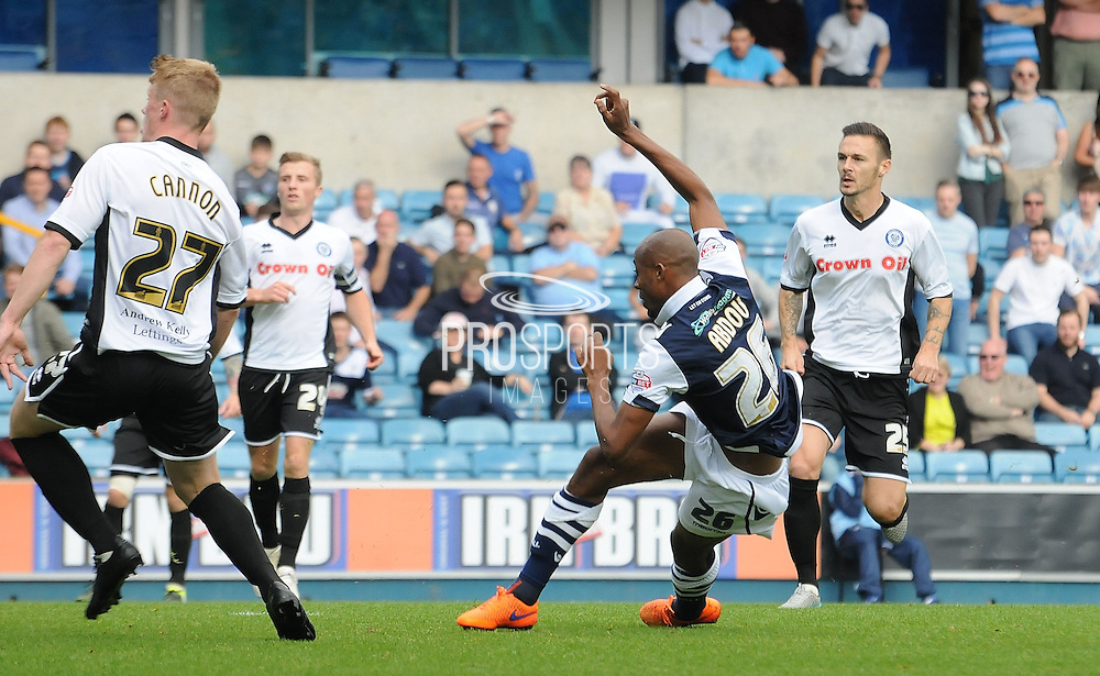 Jimmy Abdou fires Millwall into an early lead during the Sky Bet League 1 match between Millwall and Rochdale at The Den, London, England on 26 September 2015. Photo by Michael Hulf.