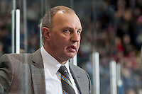 KELOWNA, CANADA -FEBRUARY 5: Head coach Brent Sutter of the Red Deer Rebels stands on the bench against the Kelowna Rockets on February 5, 2014 at Prospera Place in Kelowna, British Columbia, Canada.   (Photo by Marissa Baecker/Getty Images)  *** Local Caption *** Brent Sutter;