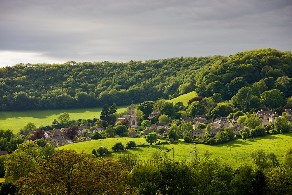 Typical countryside idyllic landscape rural scene the village of Uley in The Cotswolds near Owlpen, Gloucestershire, UK