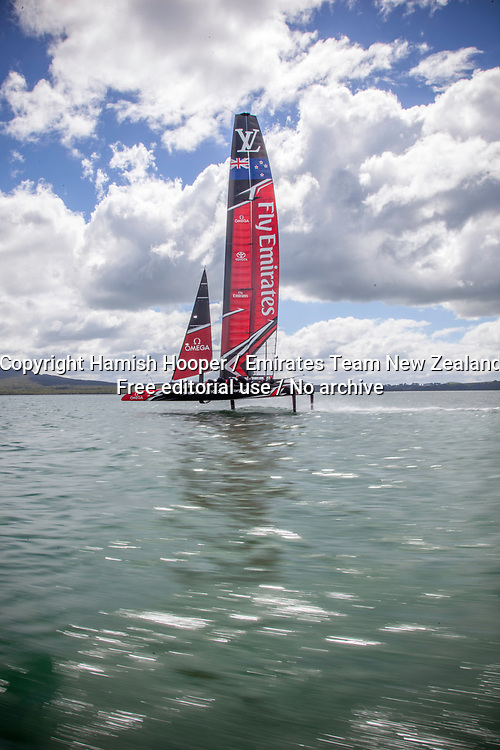 14/3/17- Emirates Team New Zealand sail their America's Cup Class race boat in Auckland New Zealand For editorial news use only NO AGENTS<br /> Copyright photo: Emirates Team New Zealand