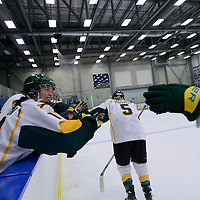 5th year forward Kylie Gavelin (13) of the Regina Cougars celebrates during the Women's Hockey Home Game on October 14 at Co-operators arena. Credit: Arthur Ward/Arthur Images