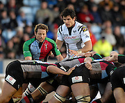 Twickenham, GREAT BRITAIN,  [Right] Ospreys, Mike Phillips, looks on as Quins Andy GOMERSALL, directs the scrum, during the EDF. Energy Cup. between, Harlequins vs Ospreys at Twickenham Stoop.  02/12/2007 [Mandatory Credit Peter Spurrier/Intersport Images].