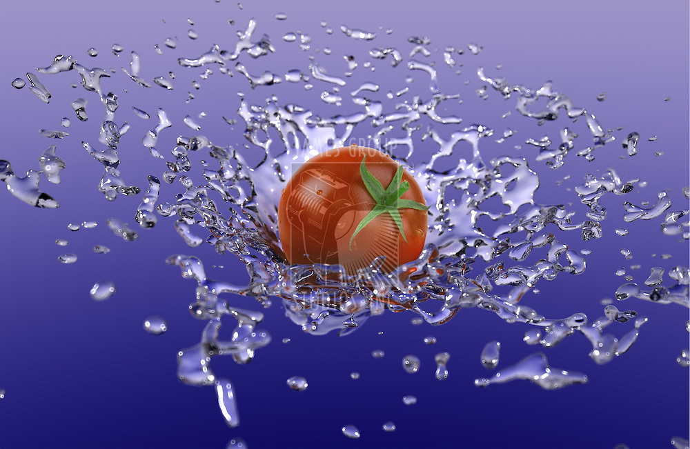 A ripe tomato suspended in the air with a spash of water behind it.
