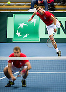 (L) Marcin Matkowski & (R) Mariusz Fyrstenberg both from Poland compete at men's double game during second day of the BNP Paribas Davis Cup 2013 between Poland and South Africa at MOSiR Hall in Zielona Gora on April 06, 2013...Poland, Zielona Gora, April 06, 2013..Picture also available in RAW (NEF) or TIFF format on special request...For editorial use only. Any commercial or promotional use requires permission...Photo by © Adam Nurkiewicz / Mediasport